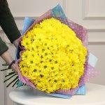 Букет из 25 желтых кустовых хризантем Бакарди
