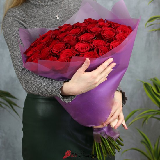 Букет из 51 красной розы 50 см (Эквадор)