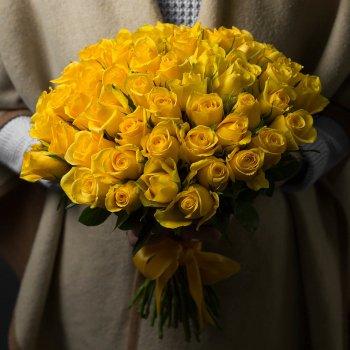 Букет из 51 желтой розы 50 см