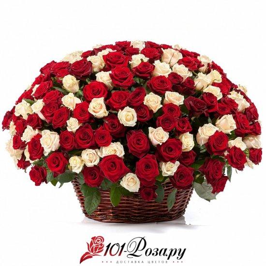 Букет из 251 (mix) розы в корзине