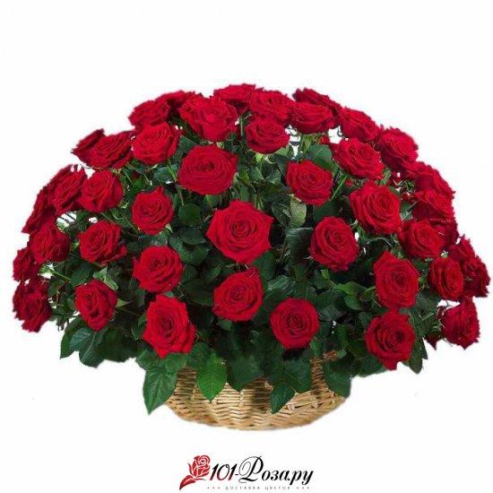 Букет из 51 красной розы в корзине