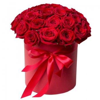 """Букет из 15 красных роз в коробке """"Романтика"""""""