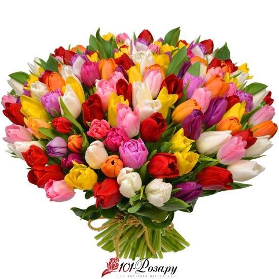 Букет из 101 разноцветный тюльпан