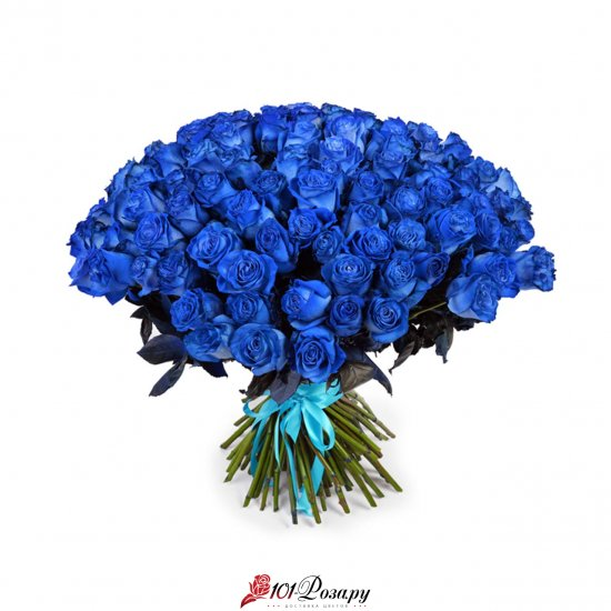 101 синяя роза (70 см)