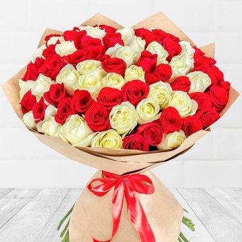 101 красно-белая роза (50 см)