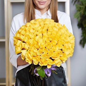 101 желтая роза (50 см)