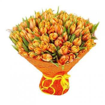 Букет из 101 оранжевого тюльпана (Голландия)