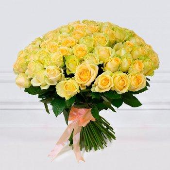 101 кремовая роза (50 см)