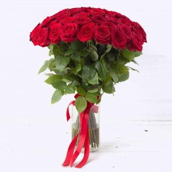 Букет 51 красной розы Россия - (70 см)