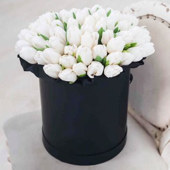 Букет из 51 белого тюльпана в коробке