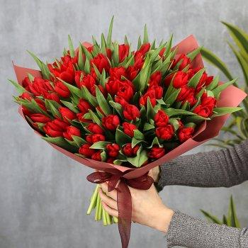 Букет из 101 красного тюльпана стандарт