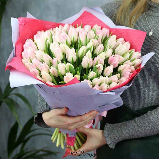 Букет из 101 розового тюльпана стандарт