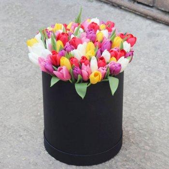 Букет из 51 тюльпана микс в коробке