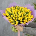 Букет из 101 желтого тюльпана стандарт