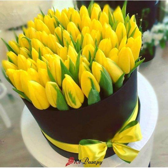 Букет из 101 жёлтого тюльпана в коробке