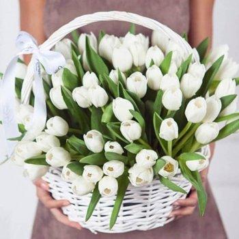 Корзина из 51 белого тюльпана