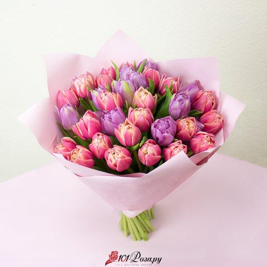 Букет из 35 пионовидных тюльпанов микс