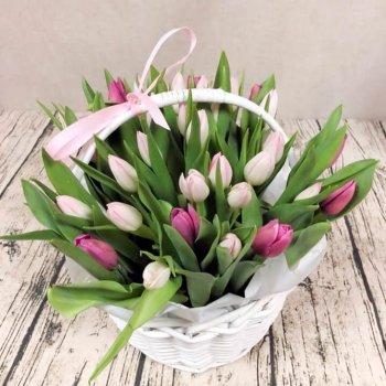 Корзина из 35 фиолетово-розовых тюльпанов