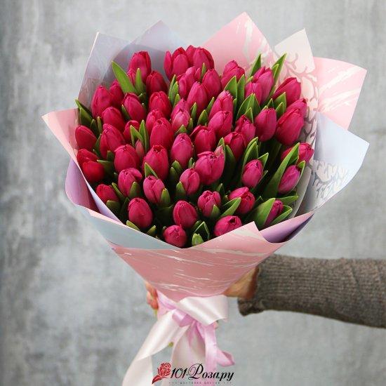 Букет из 51 малинового тюльпана стандарт