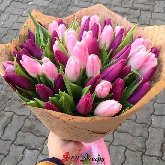 Букет из 51 розово-фиолетового тюльпана