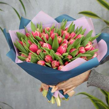 Букет из 51 розового пионовидного тюльпана