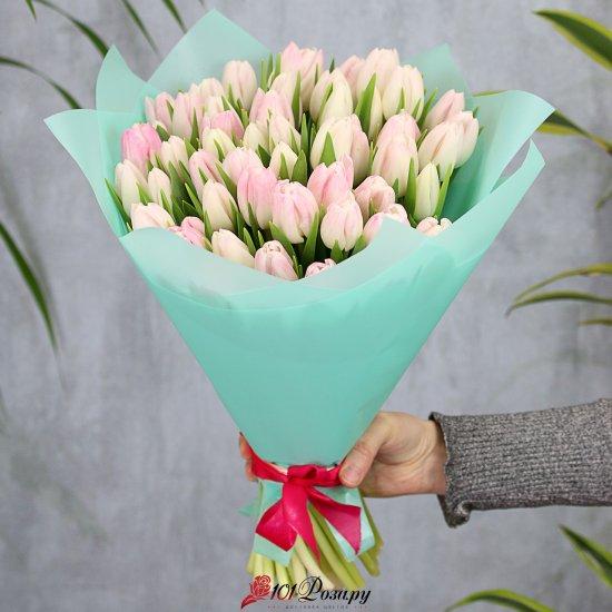 Букет из 51 розового тюльпана стандарт
