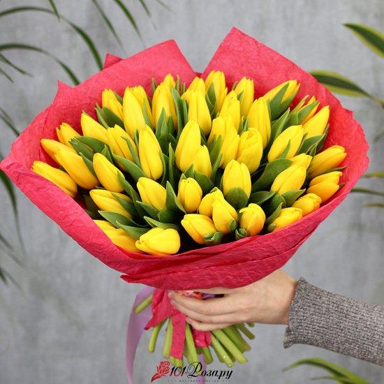 Букет из 51 жёлтого тюльпана